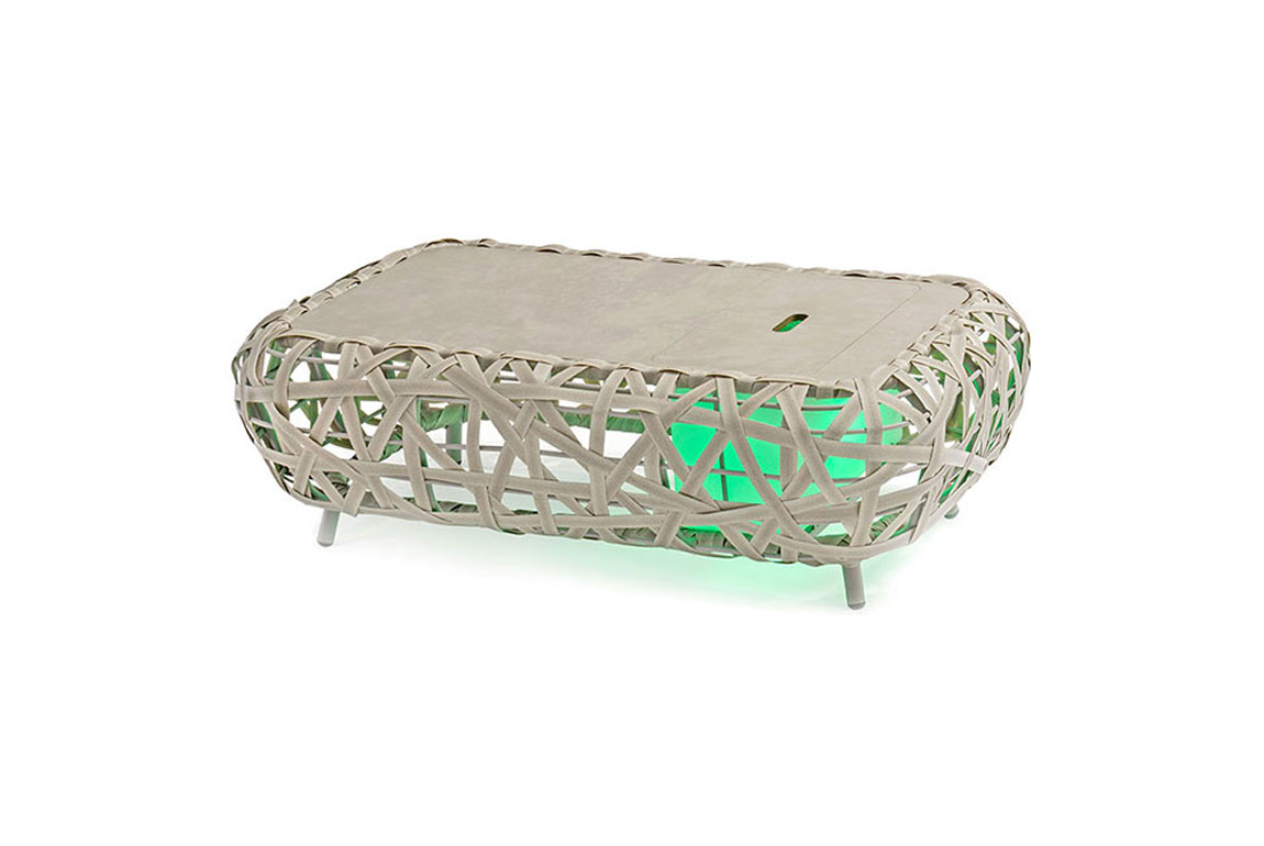 170509 Curl alum wicker coffee table with lighting box