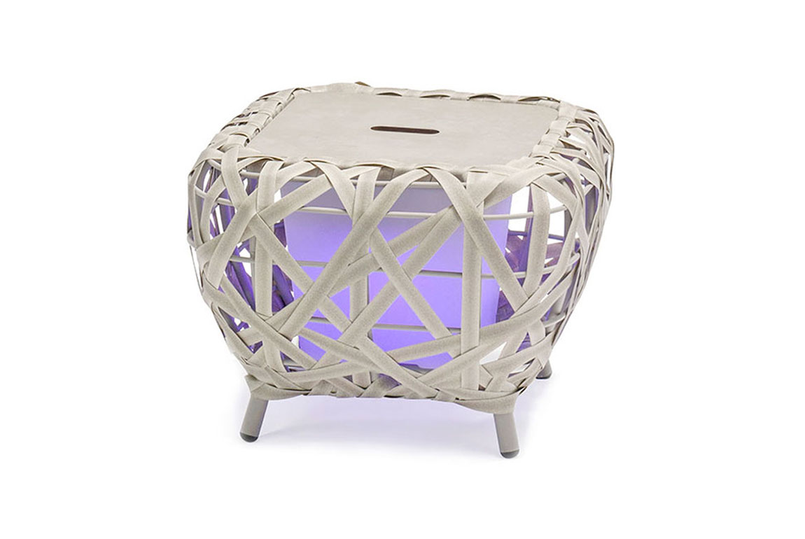 170510 Curl alum wicker side table with lighting box