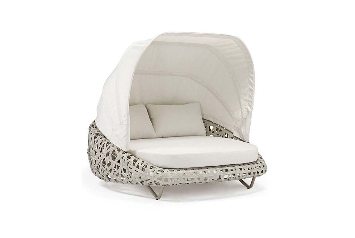 170504 Curl alum wicker bed with canopy